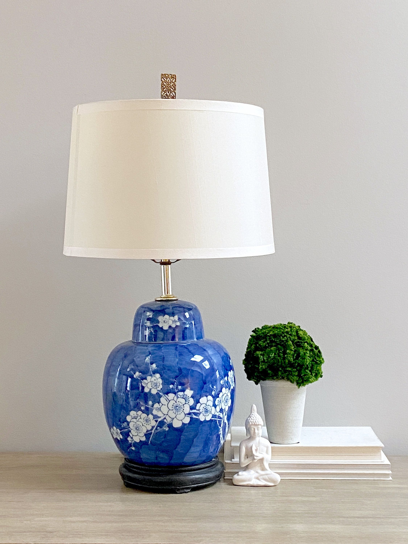 Vintage Chinese Ginger Jar Table Lamp Blue White Hawthorn Prunus Branch Design Chinoiserie Chic Jar Table Lamp Ginger Jar Lamp Lamp