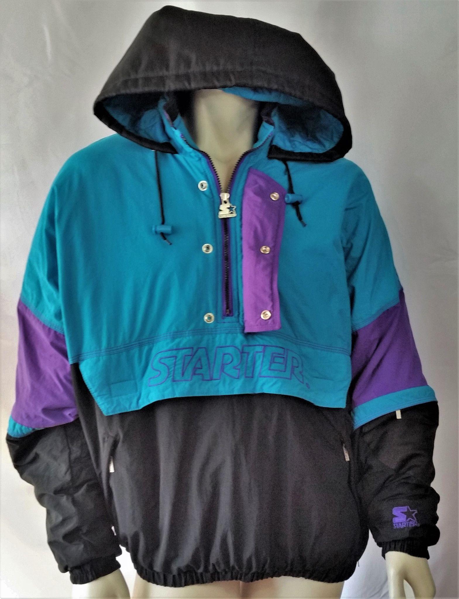 Vintage Starter Jacket Pullover Coat Hood Old Logo 90s Parka Rare Mens Large Pullover Jacket Jackets Hooded Coat
