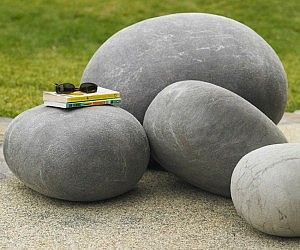Felted Merino Wool Stones, Gray | Fabric | Material | VivaTerra