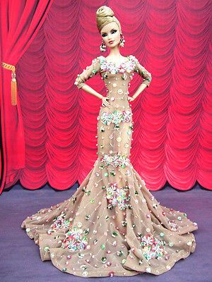 Eaki Evening Sexy Dress Outfit Gown Silkstone Barbie Fashion Royalty Sequins FR2