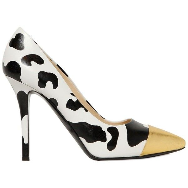 MOSCHINO 105mm Cow Print Nappa Leather Pumps (€325) ❤ liked on Polyvore featuring shoes, pumps, heels, pointed toe shoes, pointy toe shoes, pointed toe high heels shoes, pointed toe pumps and pointy toe pumps