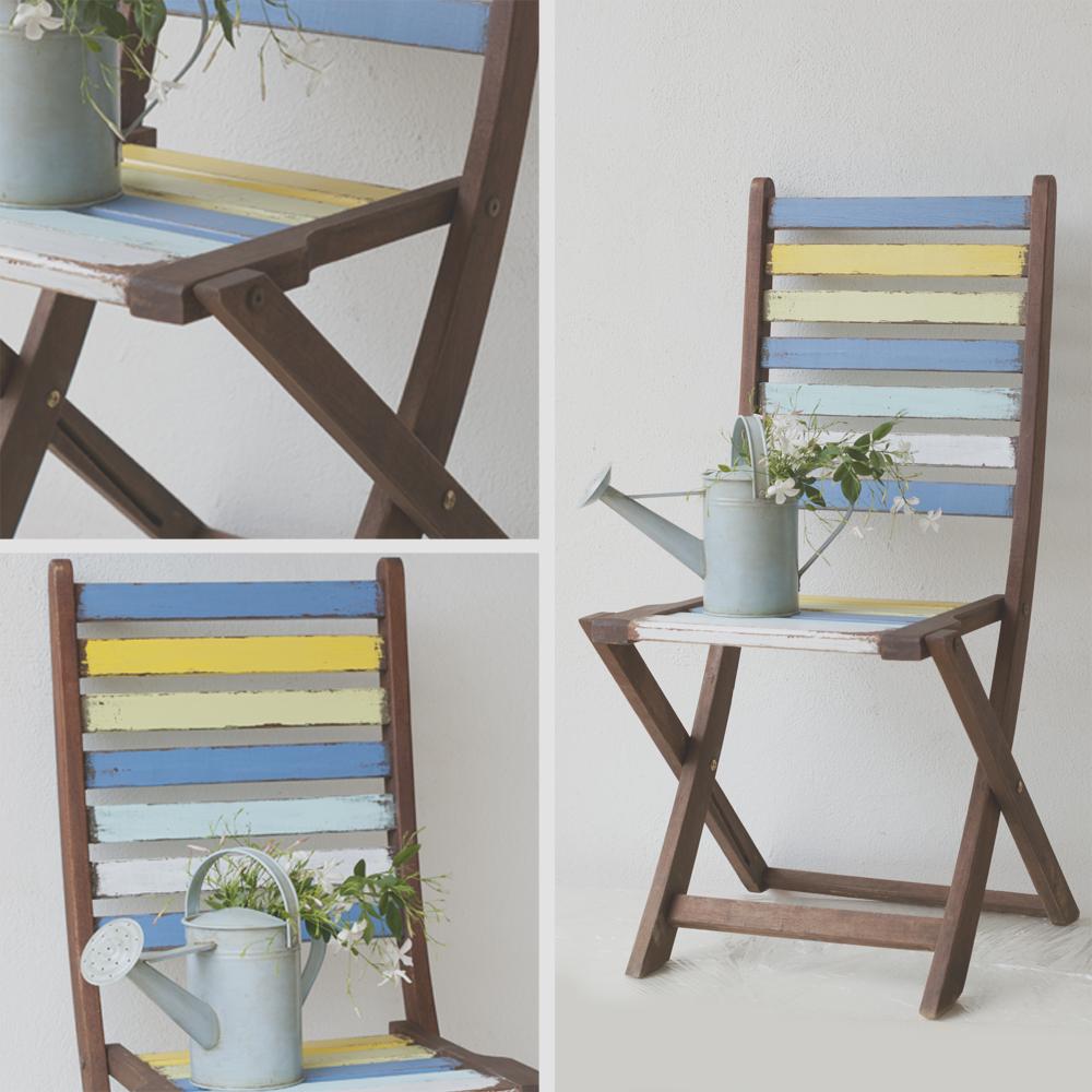 Silla restaurada y pintada en colores cidos con desgastes - Pintar sillas de madera ...