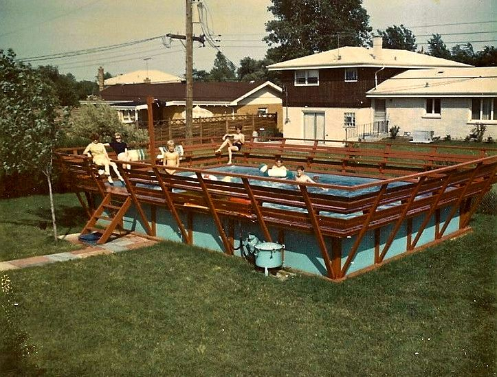 Permanent above ground 1960's Esther Williams Pool: Redwood, in-ladder pool  filter,