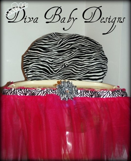 Zebra High Chair Wing Back Slipcover Hot Pink And Print Cover By Divababydesigns 55 00