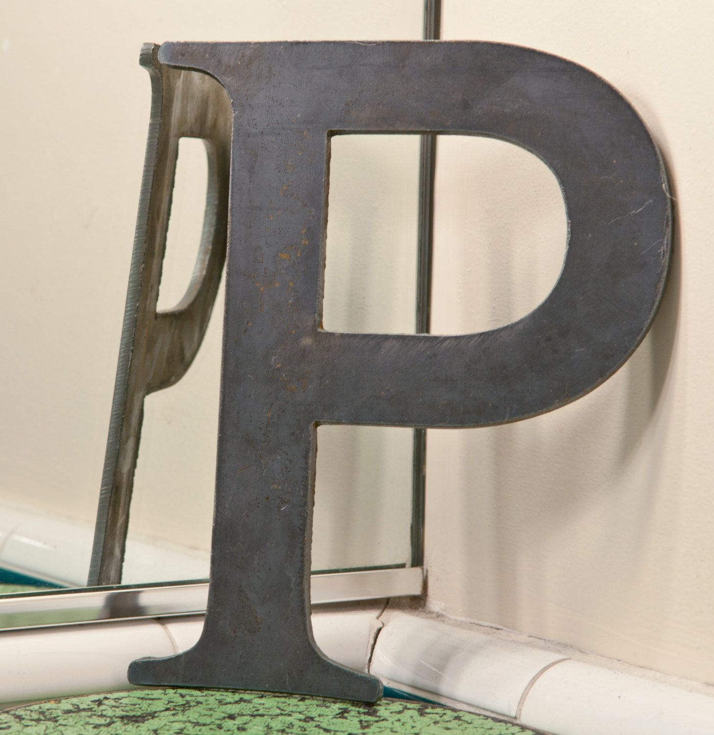 "Modern Metal Letters Metal Letters P Sign 8X6"" Modern Raw Metal Recycled Welded Steel"