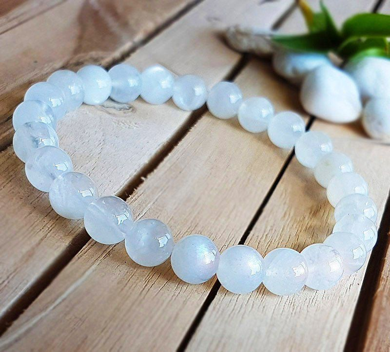 Photo of 5A Natural Moonstone bracelet, White genuine moon stone Bracelet, yoga bracelet, stone jewelry, love stone B481