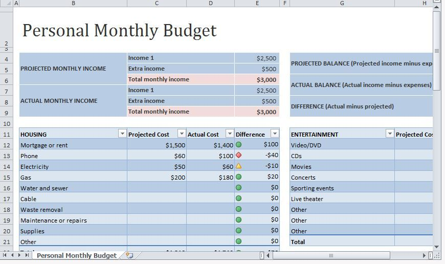 single person budget template