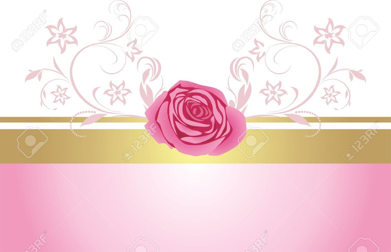 Decorative Border With Pink Rose For Design Royalty Free ...