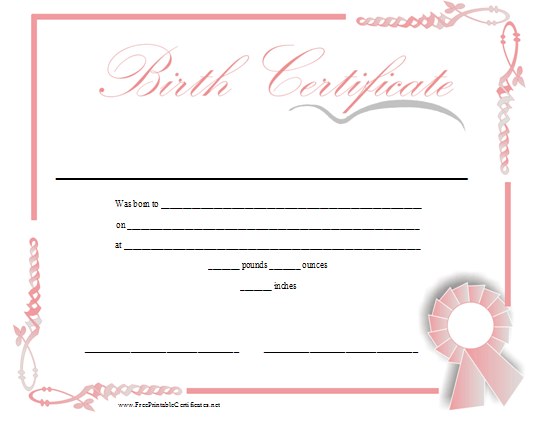 Baby dedication certificate template baby dedication certificate a printable birth certificate in shades of pink for a baby girl yadclub Image collections