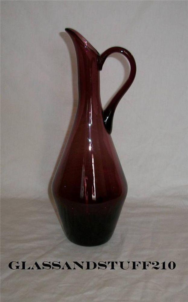 Mid-Century Italian Purple Glass Pitcher/Carafe Ewer Hand Blown Murano Empoli