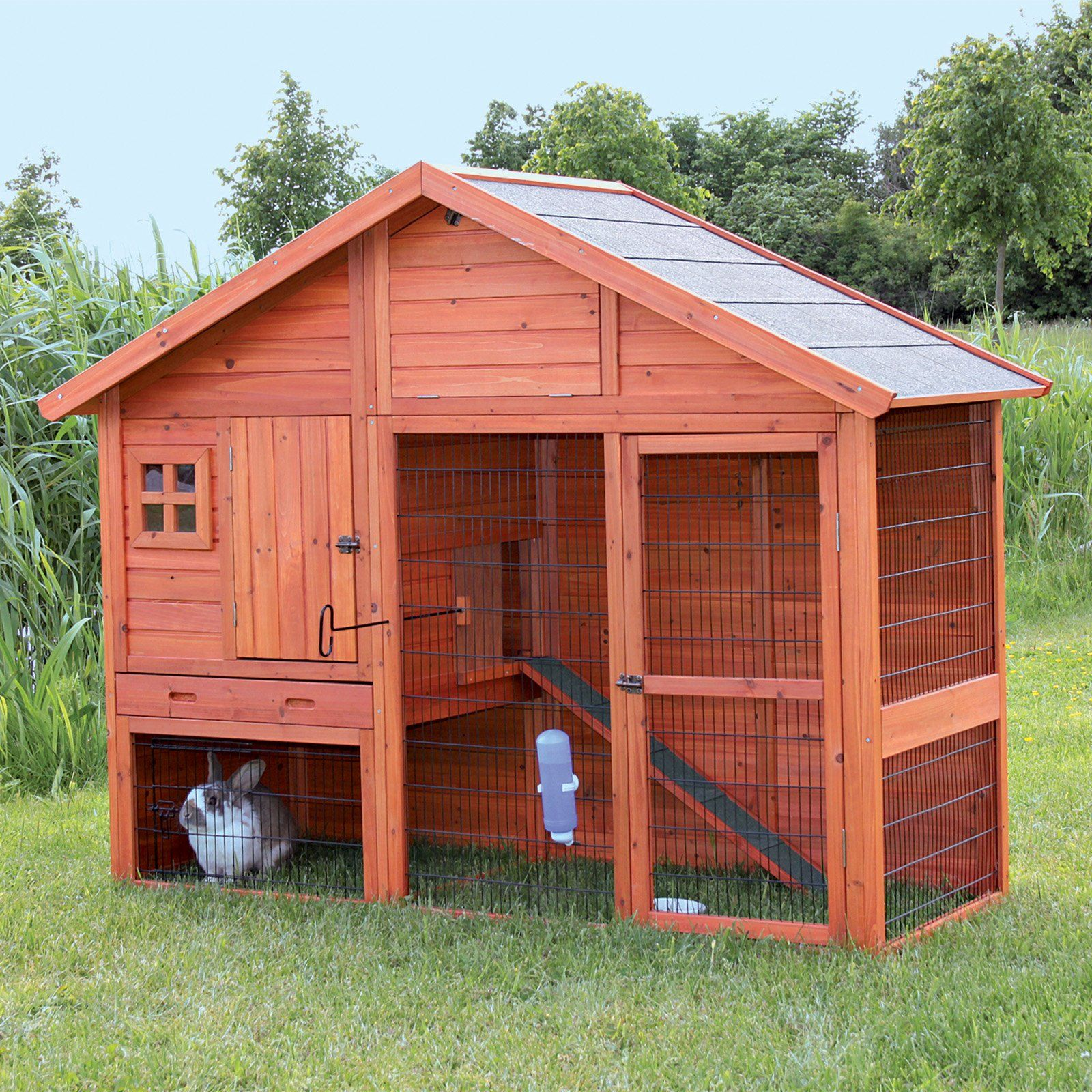 Trixie natura rabbit hutch with pitched roof for Rabbit hutch blueprints
