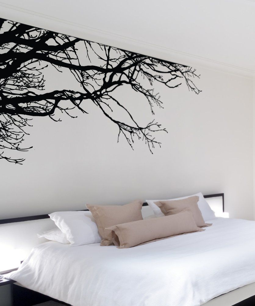 Amazon stickerbrand nature vinyl wall art tree top branches stickerbrand nature vinyl wall art tree top branches wall decal sticker black x left to right easy to apply removable amipublicfo Choice Image