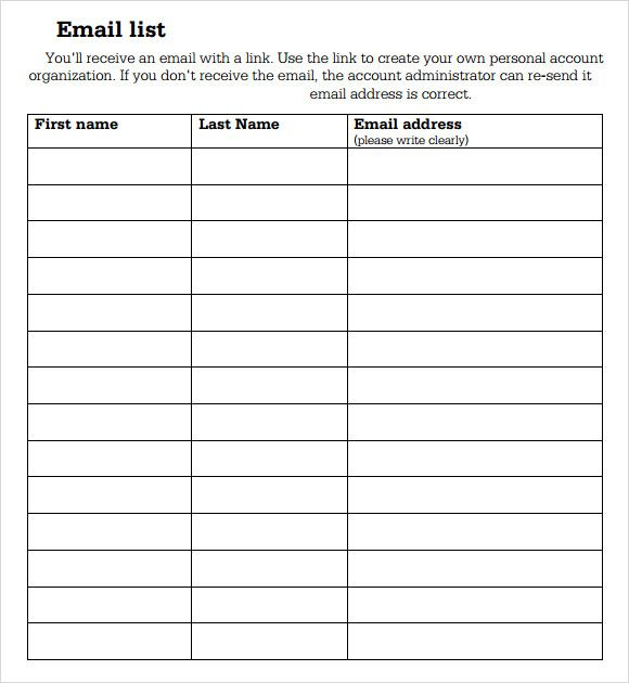 sample signup sheet