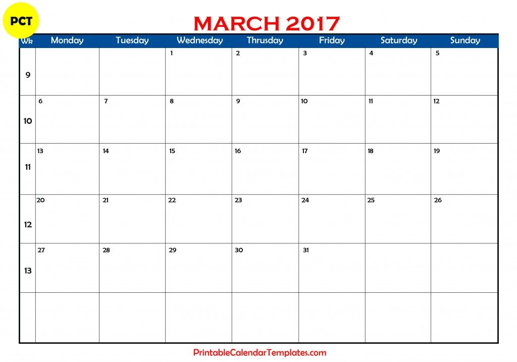 March 2017 Calendar Monthly Printable Blank Template