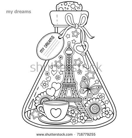 Vector Coloring Book For Adults A Glass Vessel With Dreams Of