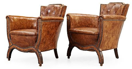 A pair of Otto Schulz brown leather armchairs, by Boet, Gothenburg 1930's.