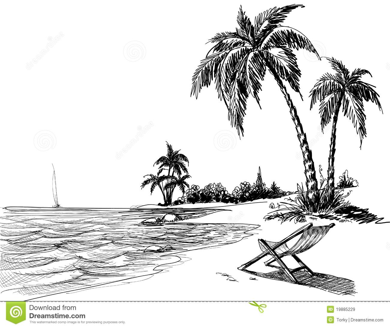 Hawaiian beach drawing google search tattoos beach for Disegno paesaggio marino