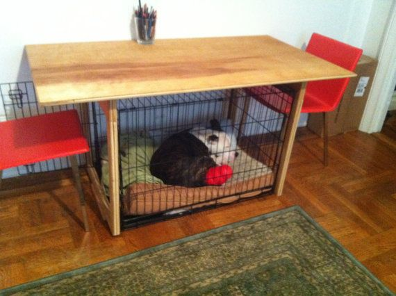 Custom Built Dining Table   Perfectly Fits Dog Crate Under It.