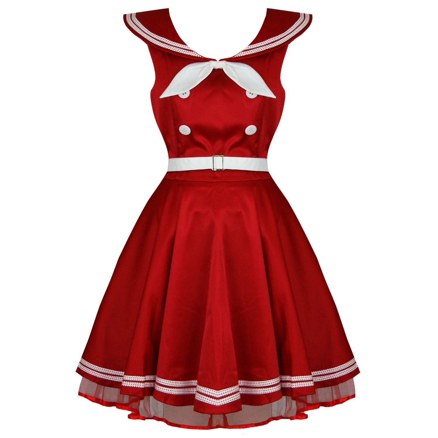 Banned new ladies red sailor rockabilly 50s retro vintage pinup bow ...