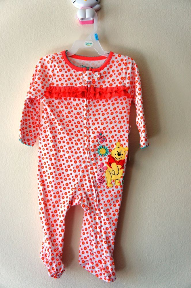 74059881426 Disney Baby Girl Candy Coral Winnie The Pooh One-piece - 0-3 Months ...