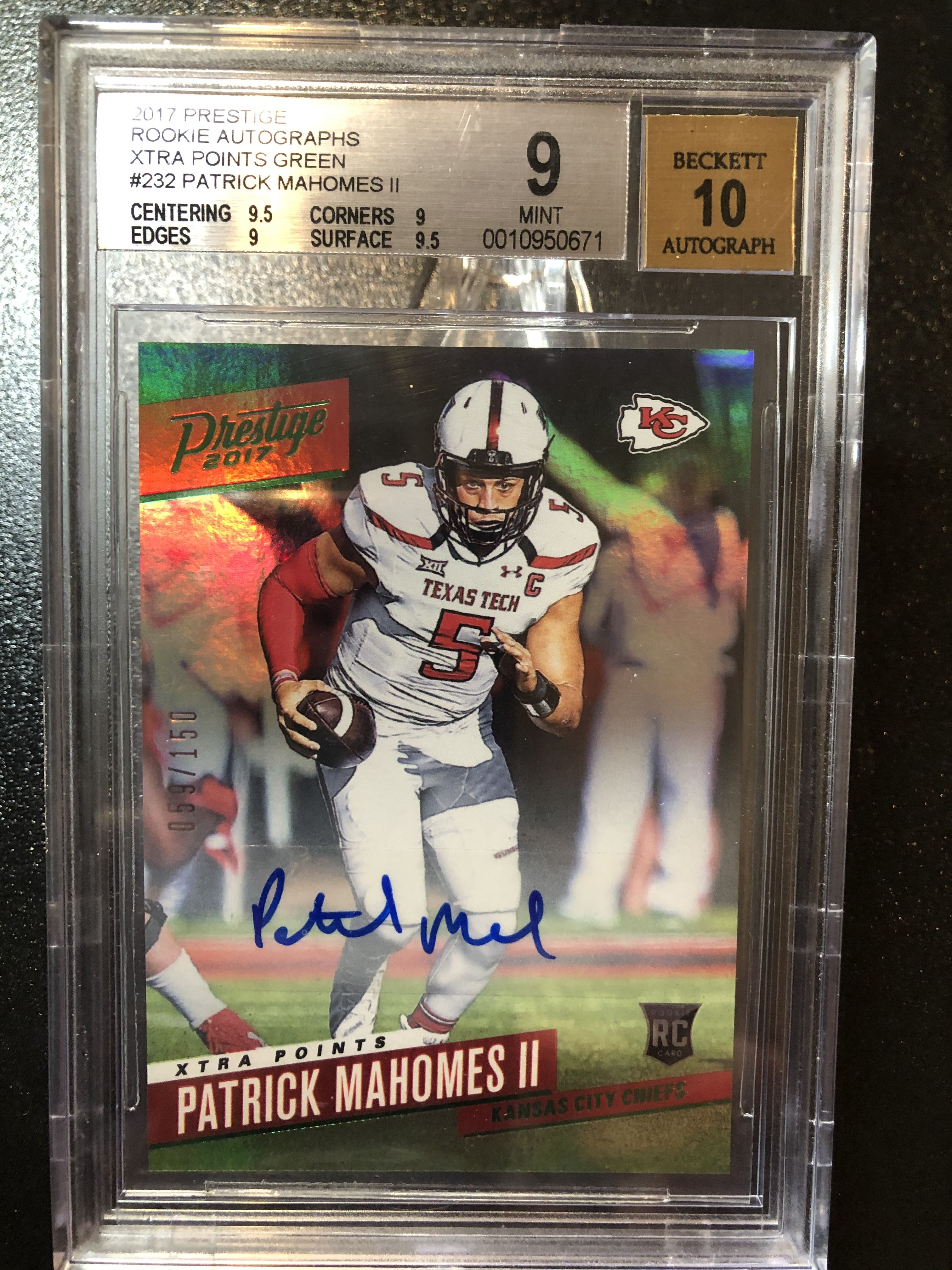 Patrick Mahomes Autographed Rookie in 2020 Patrick