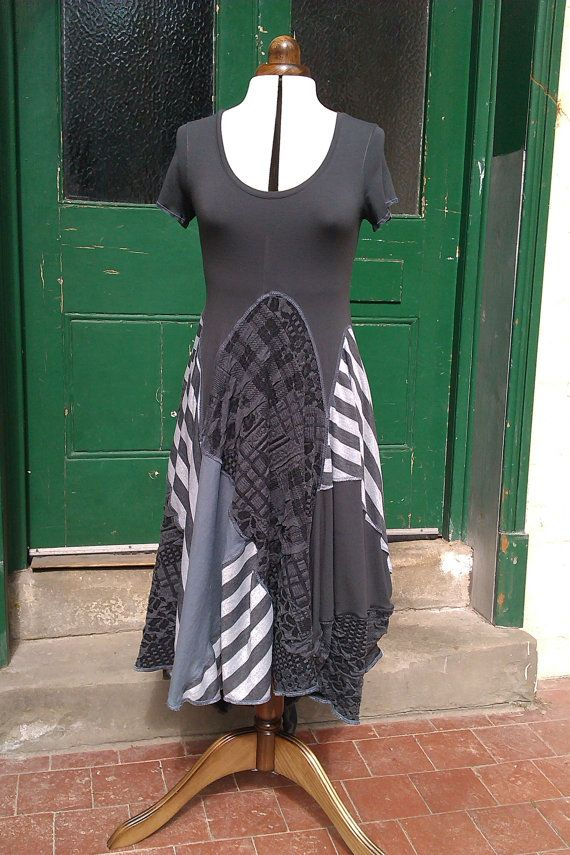 Upcycled Clothing/ Recycled T-shirt Dress/ Lagenlook Tunic Dress/ Stretch, Short Sleeve, Grey Dress on Etsy, $208.70