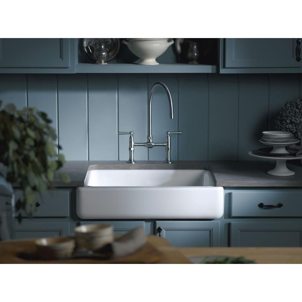 Kohler Whitehaven Undermount A Front Cast Iron 36 In Single Basin Kitchen Sink White K 6489 0 The Home Depot