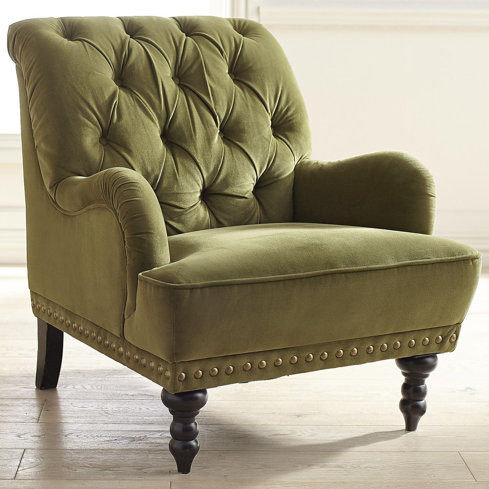 Perfect Chas Olive Green Velvet Armchair