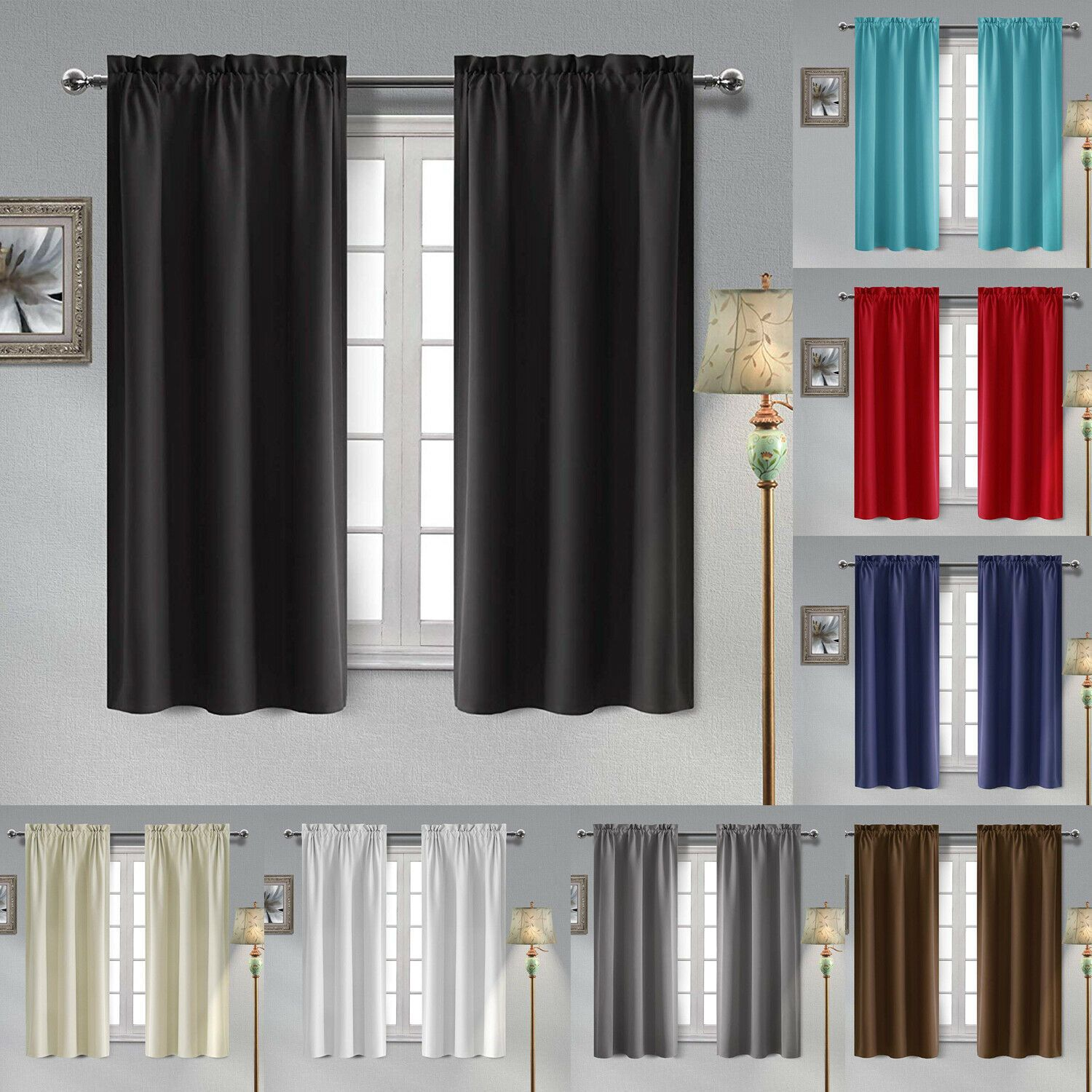 Details About 2 Panels Thermal Insulated Blackout Curtains Room