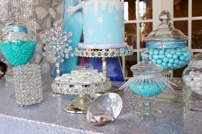 Dessert table details from a Frozen Themed Joint Birthday Party via