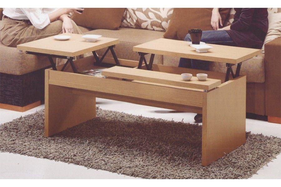 La mesa de centro elevable roble cerezo wengue blanco con for Centro de mesa modernos