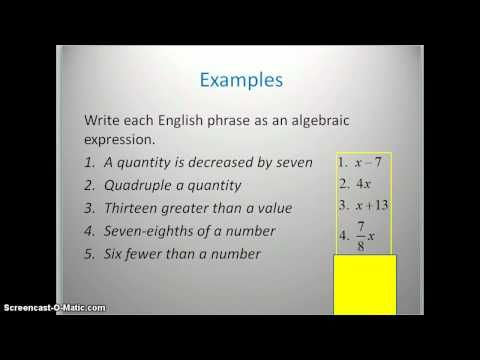 Translating English Phrases Into Algebraic Expressions Youtube Also Translates More Complex Phrases Algebraic Expressions English Phrases Basic Algebra
