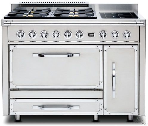 Viking Tvdr4804f 48 Pro Style Dual Fuel Range With 4 20 000 Btu Gas Burners French Top 3 8 Cu Ft Convection Oven 2 Dual Fuel Ranges Gas Burners Dual Oven