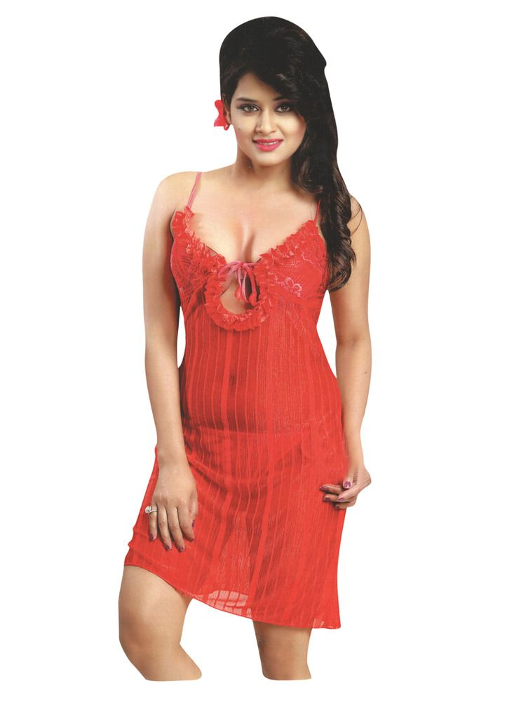 873c10f26a Indiatrendzs Women Hot Red Sleepwear Stretchable Net Nighty Lingerie 3pc Set