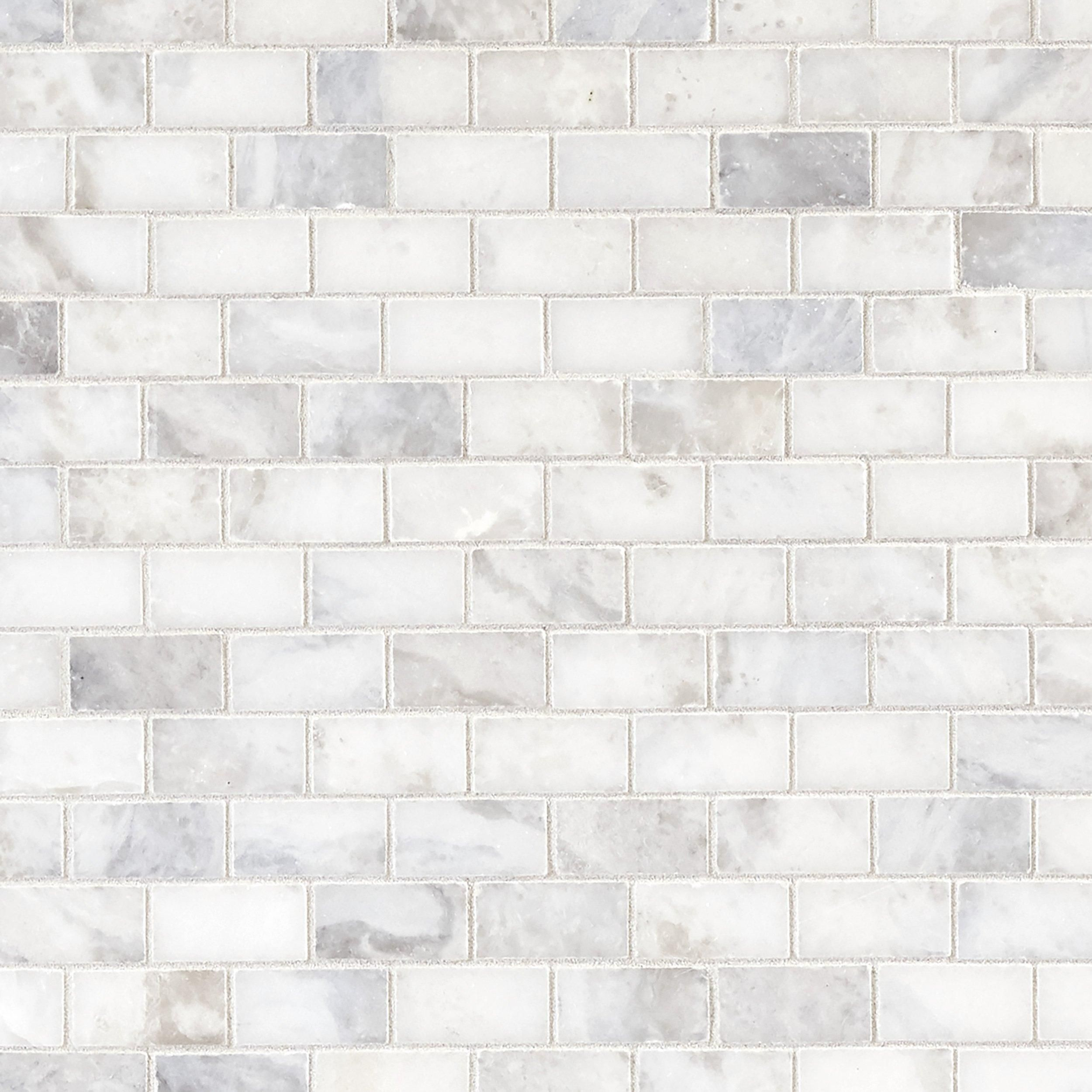 Sahara Carrara Brick Marble Mosaic Stone Decoratives Floor Decor In 2020 Marble Mosaic Carrara Marble Flooring