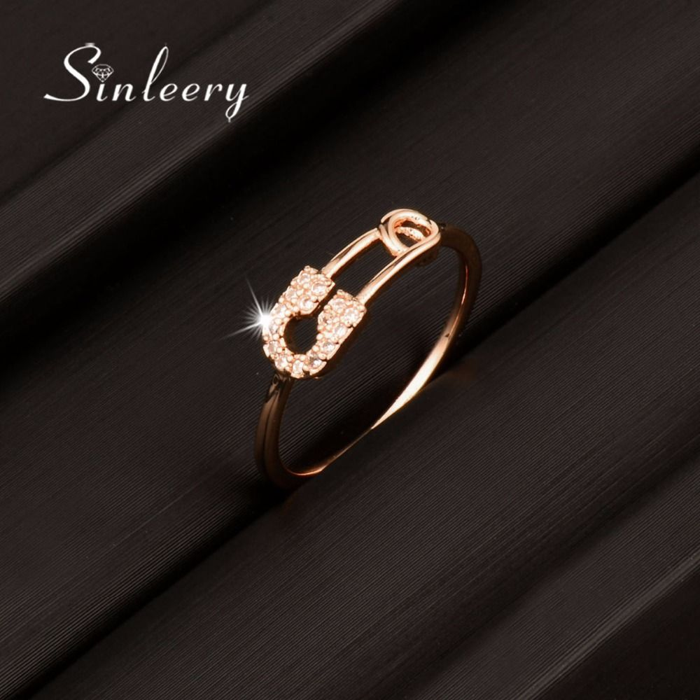 SINLEERY Unique Design Pin Shape Midi Rings Rose /White Gold Color ...