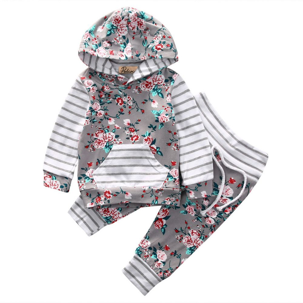 Infant Kid Baby Girls Boys Winter Long Sleeve Hoodie Tops+Pants Outfits Clothes