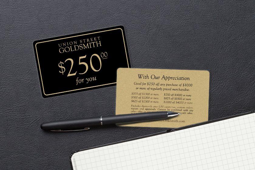Metallic gold union street goldsmith discount card