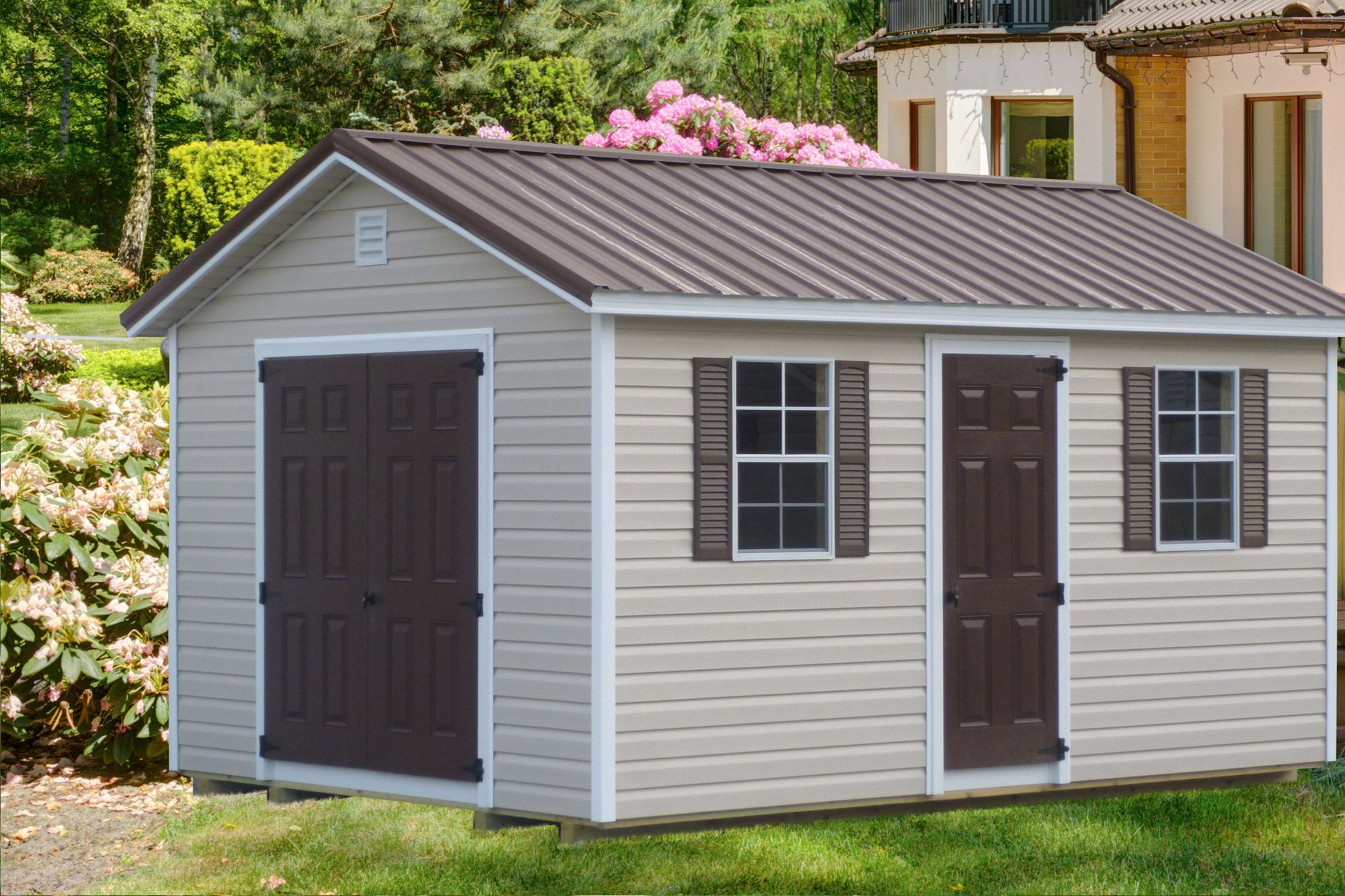 The Ranch Storage Sheds In Ky Tn Esh S Utility Buildings Backyard Sheds Shed Design Backyard Landscaping Designs