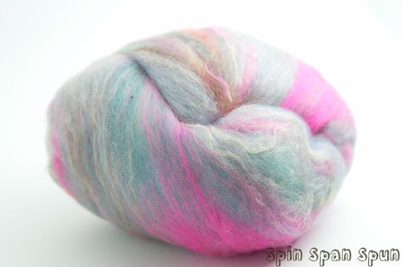 MyBatts4 set of 2 batts blend of fibers with by SpinSpanSpun