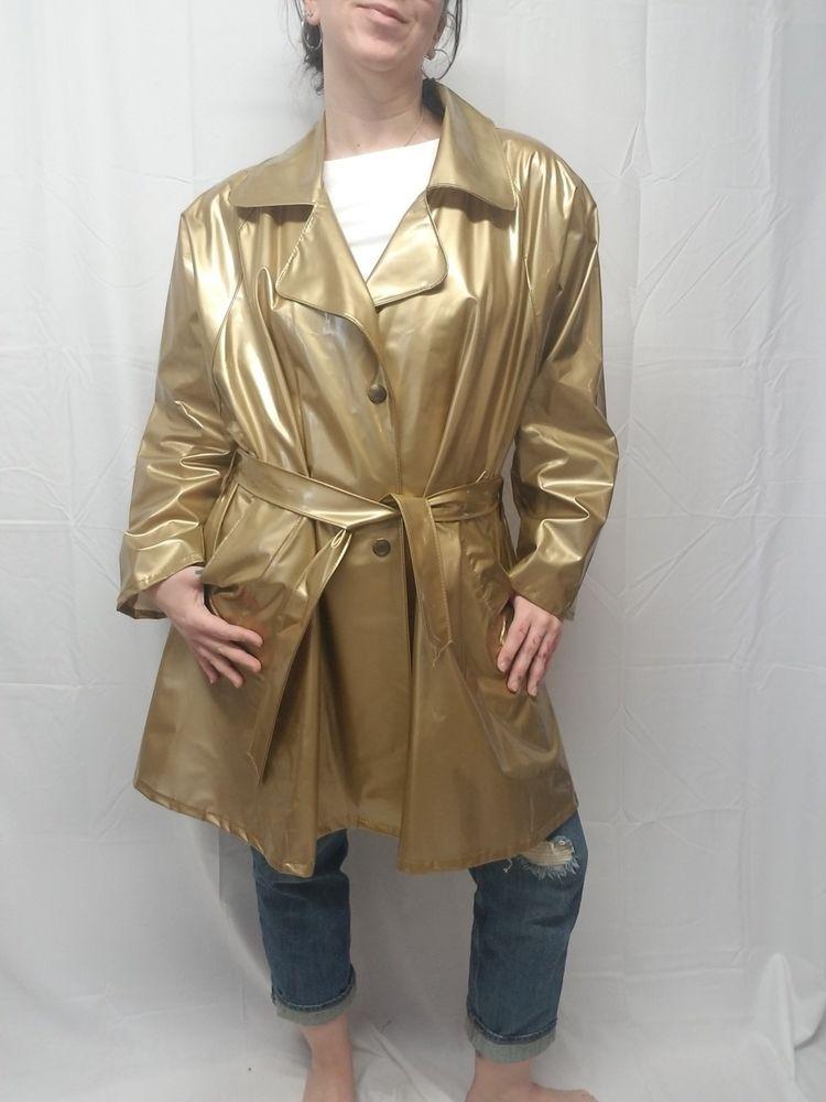 Vtg 90s Kenn Sporn For Wippette Gold Vinyl Raincoat Rain Trench Coat Slicker L Kennspornforwippette Vinyl Raincoat Rain Trench Coat Coat
