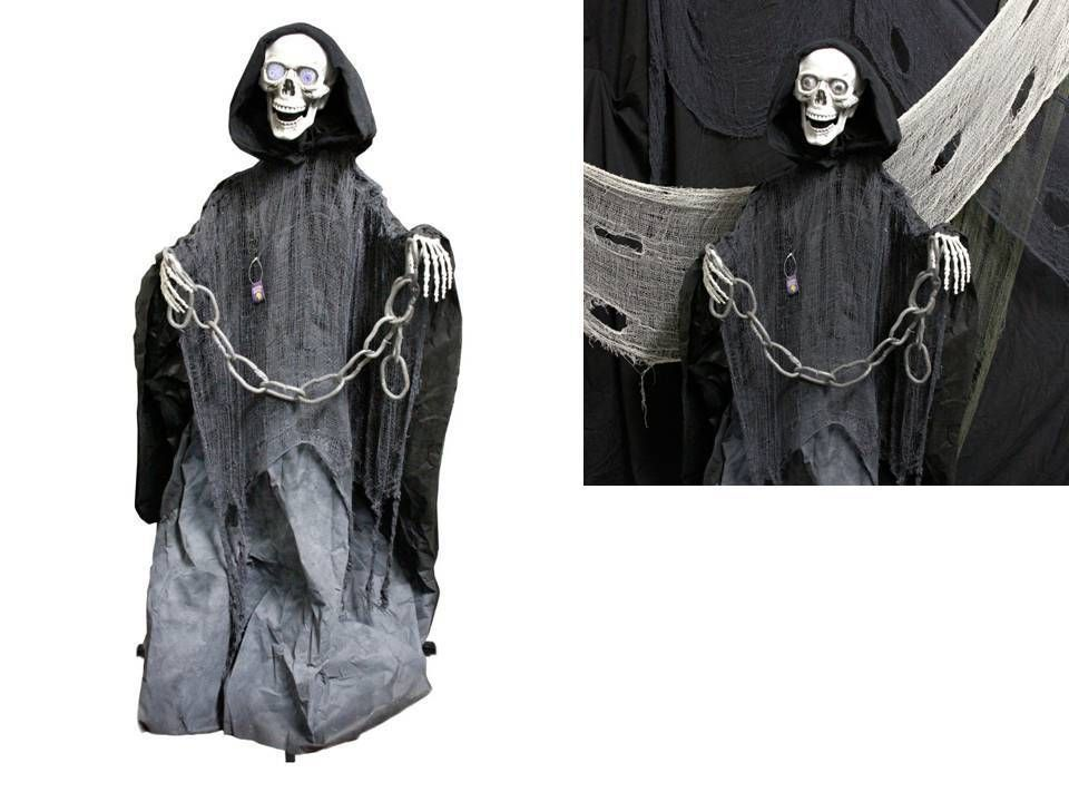 Animated Halloween Props Life Size Skeleton Death Reaper Scary Yard - halloween props decor