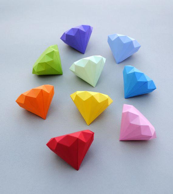 3D Paper Diamonds – Minieco co uk | Tasarım | Diy origami