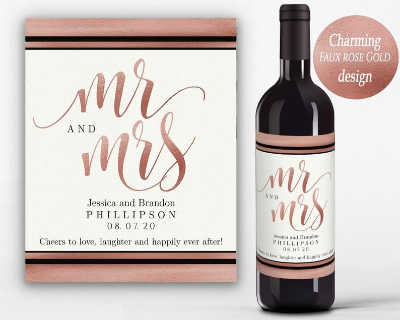 Photo of Editable Wine Label Template, Mr & Mrs Printable Wine Bottle Labels, Wine Labels for Wedding, Wine Bottle Label Engagement
