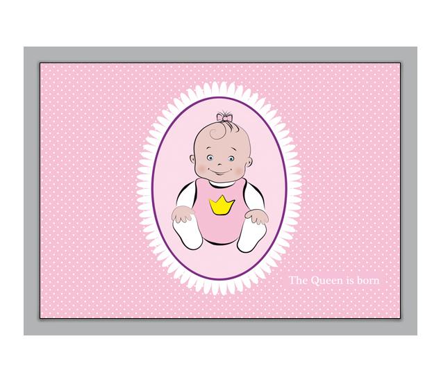 Fröhliche Geburtsanzeige: The Queen is born - http://www.1agrusskarten.de/shop/frohliche-geburtsanzeige-the-queen-is-born/    00000_1_2358, Eltern, Familie, geboren Neugeborenes, Geburt, gratulieren Großeltern, Grusskarte, Klappkarte Baby00000_1_2358, Eltern, Familie, geboren Neugeborenes, Geburt, gratulieren Großeltern, Grusskarte, Klappkarte Baby