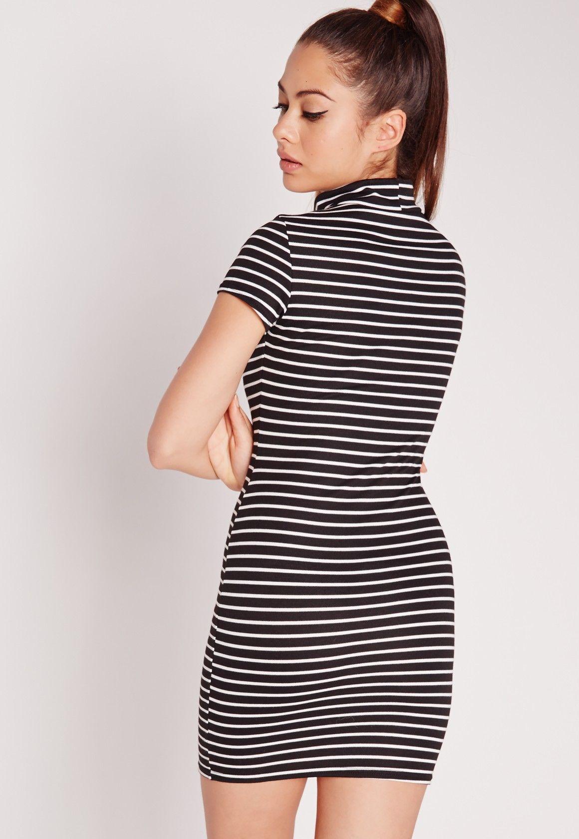 Missguided - Short Sleeve High Neck Dress Black Stripe