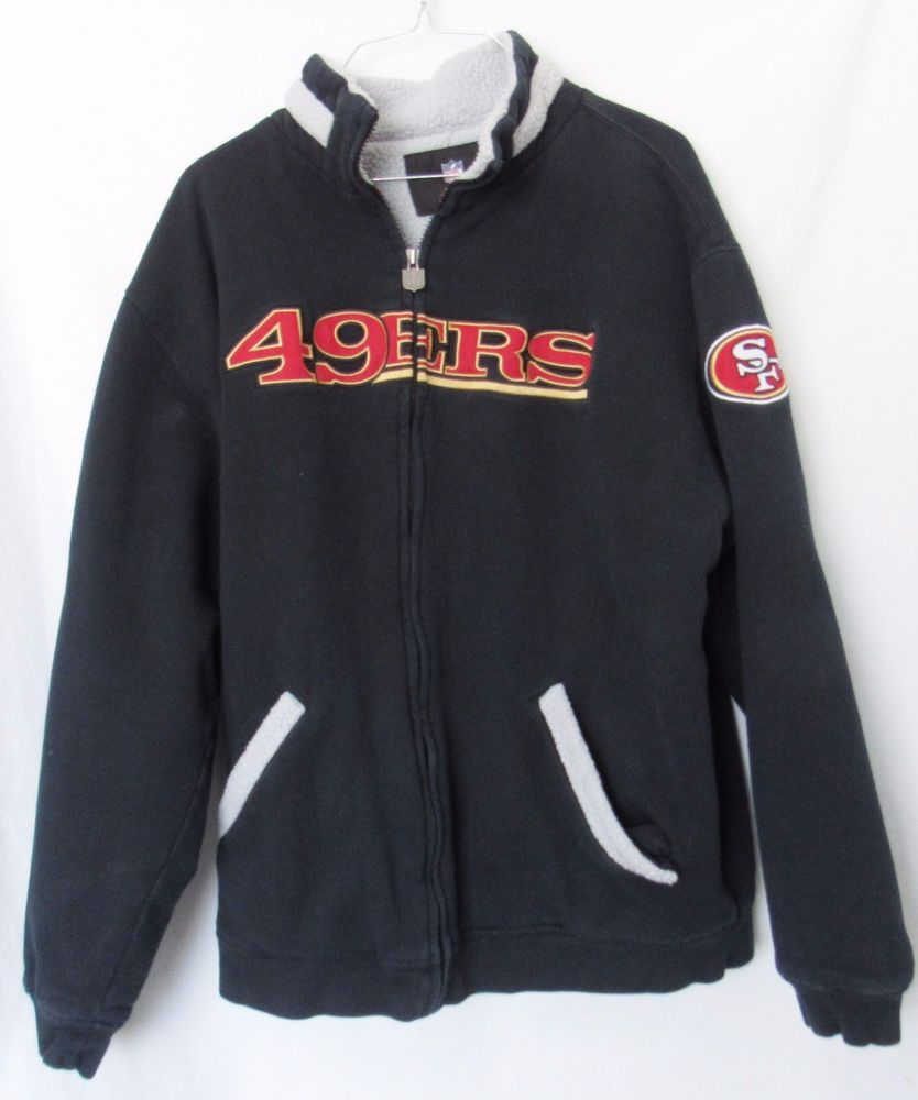 01d0a6d6 San Francisco 49ers Jacket Blue with Gray Sherpa Lining Mens L NFL ...