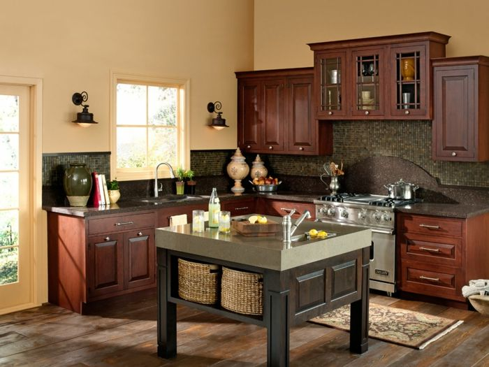 Wände Streichen Ideen Küche Creme Wandfarbe Küchentisch Aufbewahrungskörbe