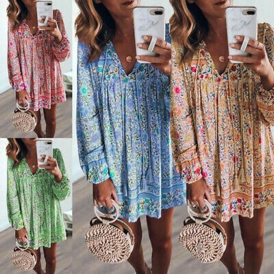 (eBay link) Women Flower Loose V-Neck Dress Long Sleeve Swing Mini Short Sundress Beach NEW  #clothing #shoes #accessories #wome #fashion #shortsundress