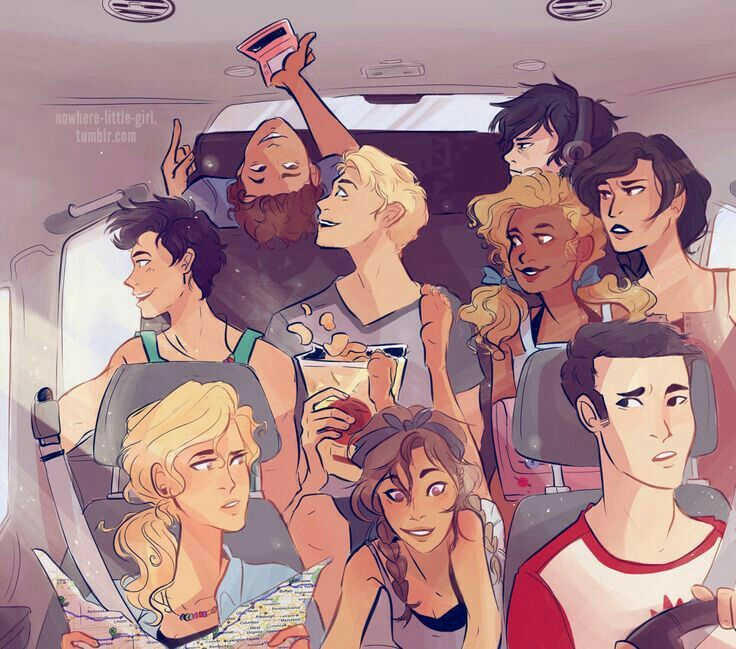 """I love this!!!<<<< Leo and Jason look like they just found a funny gif, Hazel looks so amused, nico looks like he hates (but also secretly loves) the entire idea of the road trip, Percy looks just fine and dandy/like the scenery is cool, Reyna looks like she's trying to see the fore-said gif/like """"really guys no calm down"""", Annabeth looks like """"guys shut in IM TRYING TO READ/navigate or something, piper looks like her favorite song just came on, and frank just seems extraordinarily concerned"""
